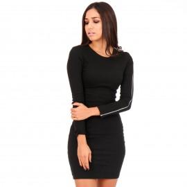 Μαύρο Mini Φόρεμα με Φερμουάρ στο Μανίκι