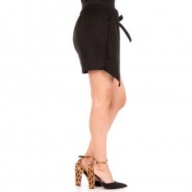 Μαύρη Βελούδινη Mini Φούστα