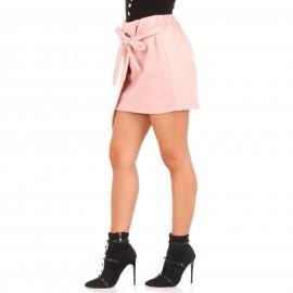 Ρόζ Βελούδινη Mini Φούστα