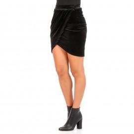 Μαύρη Βελούδινη Mini Φούστα Κρουαζέ