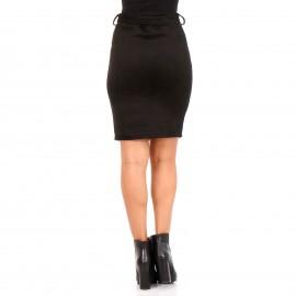 Μαύρη Βελούδινη Mini Φούστα με Κουμπιά και Ζωνάκι