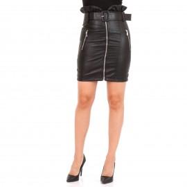 Μαύρη Δερμάτινη Mini Φούστα με Φερμουάρ και Ζώνη