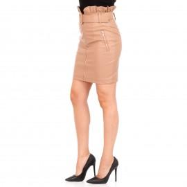 Μπεζ Δερμάτινη Ματ Mini Φούστα με Φερμουάρ και Ζώνη