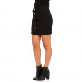 Μαύρη Mini Φούστα με Κουμπιά