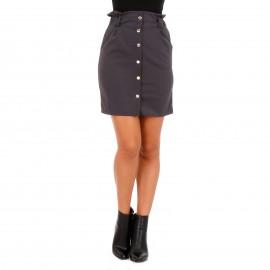 Γκρι Mini Φούστα με Κουμπιά