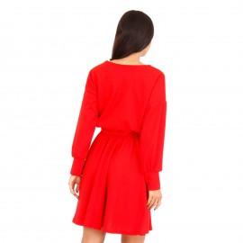 Κόκκινο Midi Φόρεμα με Ζωνάκι