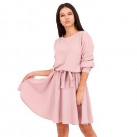Ρόζ Midi Φόρεμα με Ζωνάκι