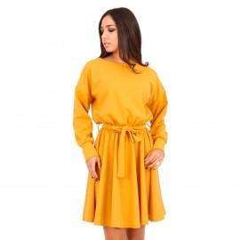 Κίτρινο Midi Φόρεμα με Ζωνάκι