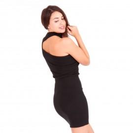 Μαύρο Ripped Mini Φόρεμα με Έναν Ώμο