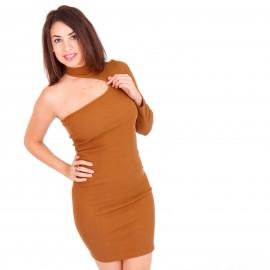 Camel Ripped Mini Φόρεμα με Έναν Ώμο