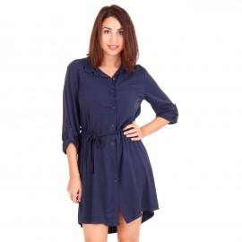 Μπλε Mini Φόρεμα με Κουμπιά