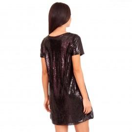 Μαύρο Κοντομάνικο Mini Φόρεμα με Παγέτες
