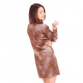 Λεοπάρ Βελούδινο Mini Φόρεμα με Τσέπες και Κουμπιά