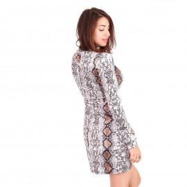 Καφέ Φίδι Μακρυμάνικο Βελούδινο Mini Φόρεμα