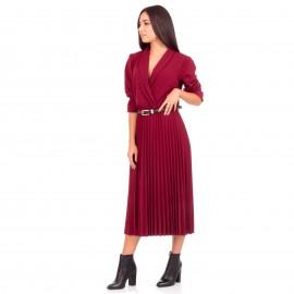 Μπορντό Midi Φόρεμα με Πλισέ Φούστα και Ζώνη