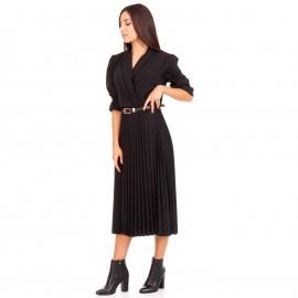 Μαύρο Midi Φόρεμα με Πλισέ Φούστα και Ζώνη