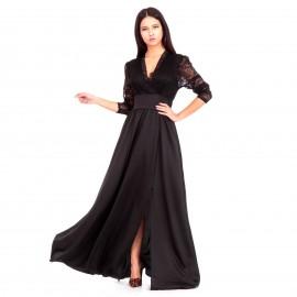 Μαύρο Σατέν Maxi Φόρεμα με Δαντέλα