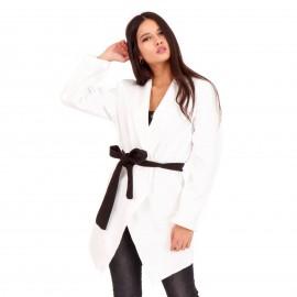 Λευκό Blazer Σακάκι με Ζωνάκι και Βάτες