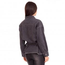 Μαύρο Τζιν Jacket με Ζωνάκι