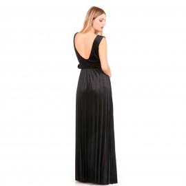 Μαύρο Βελούδινο Maxi Φόρεμα με Ανοιχτή Πλάτη