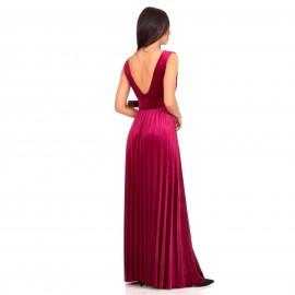 Μπορντό Βελούδινο Maxi Φόρεμα με Ανοιχτή Πλάτη