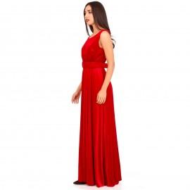 Κόκκινο Βελούδινο Maxi Φόρεμα με Ανοιχτή Πλάτη