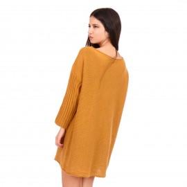 Κίτρινο Πλεκτό Μπλουζοφόρεμα