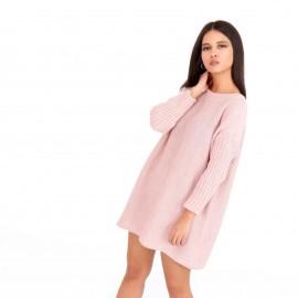 Ρόζ Πλεκτό Μπλουζοφόρεμα