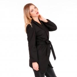 Μαύρο Blazer Σακάκι με Ζωνάκι και Βάτες