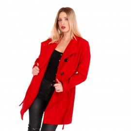 Κόκκινο Παλτό με Ζώνη