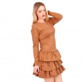 Camel Σουέτ Mini Φόρεμα με Φραμπαλά