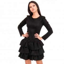 Μαύρο Σουέτ Mini Φόρεμα με Φραμπαλά