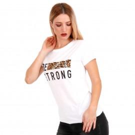 Λευκό Μπλουζάκι με Λεοπάρ Στάμπα και Γράμματα