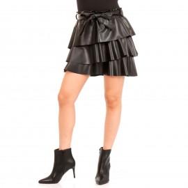 Μαύρη Δερμάτινη Mini Φούστα με Φραμπαλά και Ζώνη