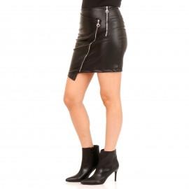 Μαύρη Δερμάτινη Ματ Mini Φούστα με Φερμουάρ