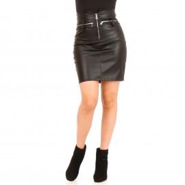 Μαύρη Δερμάτινη Mini Φούστα με Φερμουάρ