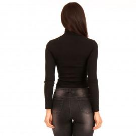 Μαύρη Ripped Μπλούζα με Φερμουάρ