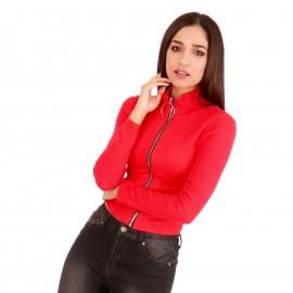 Κόκκινη Ripped Μπλούζα με Φερμουάρ