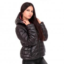 Μπορντό Puffer Jacket Διπλής Όψης