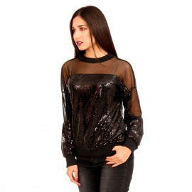 Μαύρη Μπλούζα με Παγέτες και Διαφάνειες