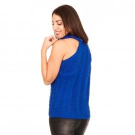 Μπλε Ρουά Πλεκτή Μπλούζα Ζιβάγκο με Έναν Ώμο