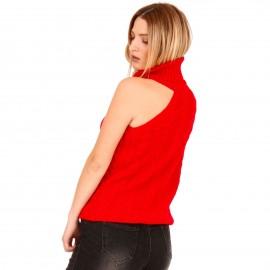 Κόκκινη Πλεκτή Μπλούζα Ζιβάγκο με Έναν Ώμο