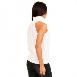 Λευκή Πλεκτή Μπλούζα Ζιβάγκο με Έναν Ώμο