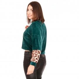 Πράσινη Βελούδινη Cropped Μπλούζα με Animal Print στο Μανίκι