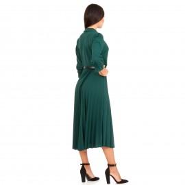 Πράσινο Midi Φόρεμα με Πλισέ Φούστα και Ζώνη