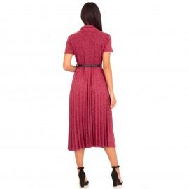 Μπορντό Midi Φόρεμα Ζιβάγκο με Πλισέ Φούστα και Ζώνη