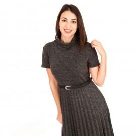 Γκρι Midi Φόρεμα Ζιβάγκο με Πλισέ Φούστα και Ζώνη