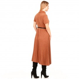 Camel Midi Φόρεμα Ζιβάγκο με Πλισέ Φούστα και Ζώνη