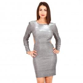 Ασημί Mini Φόρεμα με Glitter