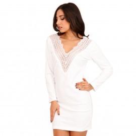 Λευκό Βελούδινο Mini Φόρεμα με Δαντέλα